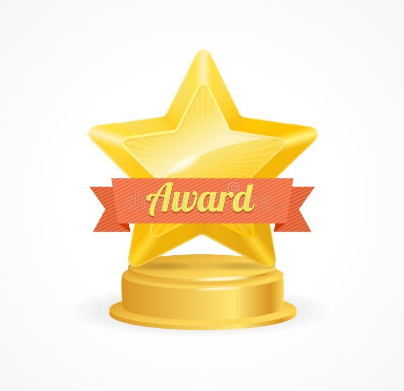 Χρυσό βραβείο αστεριών διάνυσμα διανυσματική απεικόνιση