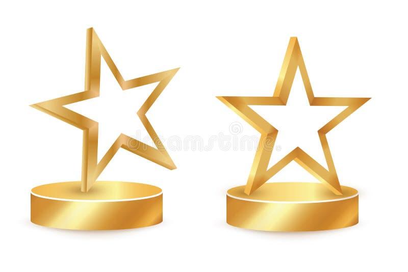 Χρυσό βραβείο αστεριών στο κενό τρόπαιο Εικονίδιο ανταμοιβής που απομονώνεται στο άσπρο υπόβαθρο Ανταμοιβή αστεριών επίσης corel  ελεύθερη απεικόνιση δικαιώματος