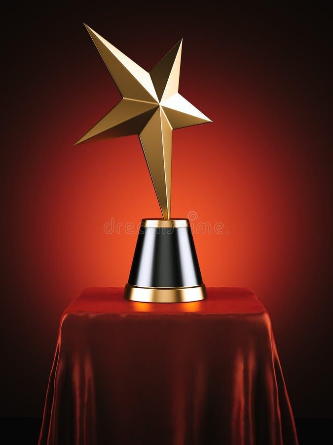 Χρυσό βραβείο αστεριών στο κόκκινο στούντιο τρισδιάστατη απόδοση διανυσματική απεικόνιση