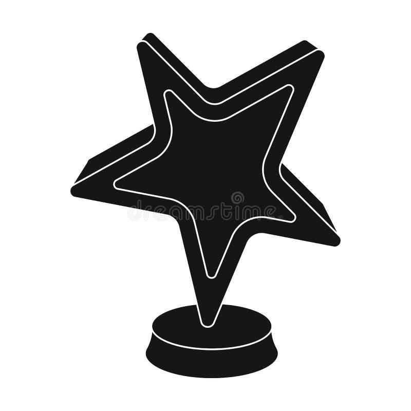 Χρυσό βραβείο με μορφή ενός αστεριού Το βραβείο για τον καλύτερο ρόλο σε μια ταινία δράσης Ενιαίο εικονίδιο βραβείων κινηματογράφ ελεύθερη απεικόνιση δικαιώματος