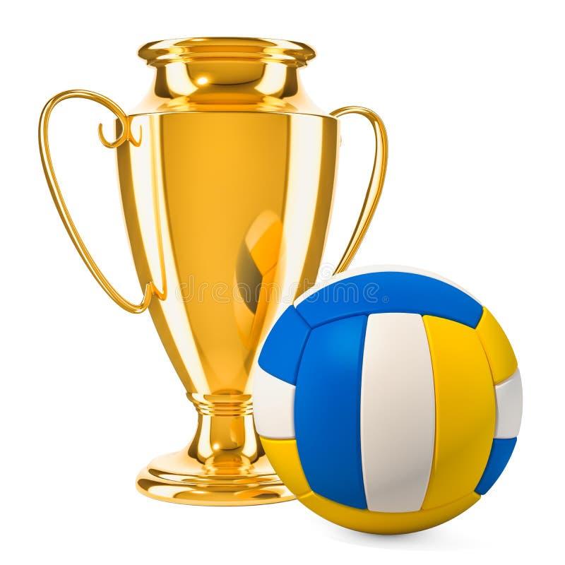 Χρυσό βραβείο φλυτζανιών τροπαίων με τη σφαίρα πετοσφαίρισης, τρισδιάστατη απόδοση απεικόνιση αποθεμάτων