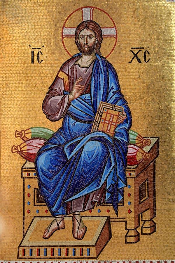 Χρυσό βυζαντινό μωσαϊκό του Ιησούς Χριστού στοκ φωτογραφίες