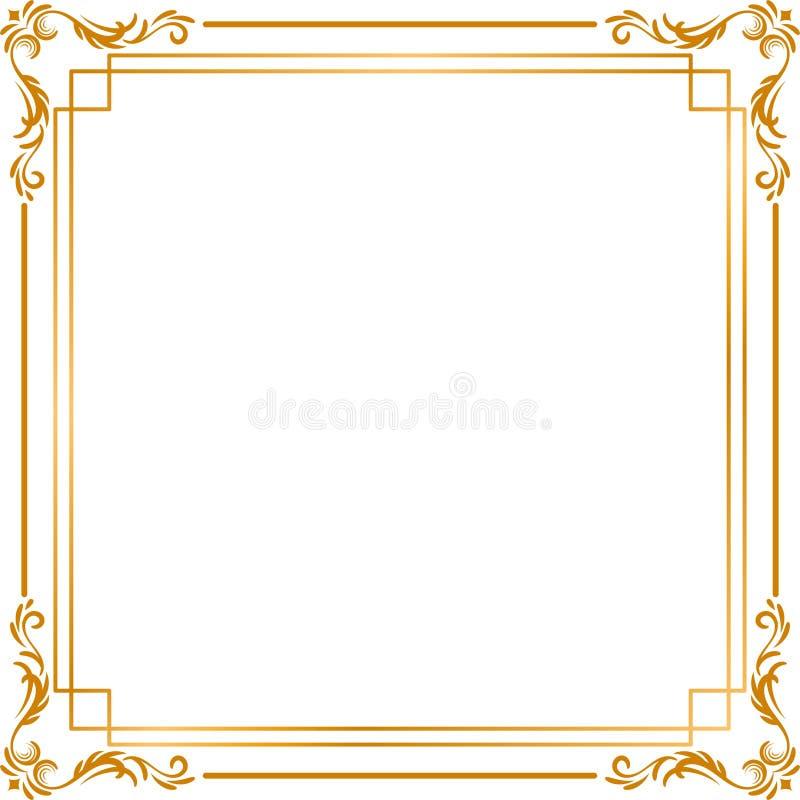 Χρυσό γαμήλιο πλαίσιο για το σκοπό γαμήλιας πρόσκλησης διανυσματική απεικόνιση