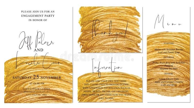 Χρυσό γαμήλι με φόντο ζωγραφισμένο με το χέρι Περιλαμβάνει πρότυπα Invintation, information, menu και ΕΥΧΑΡΙΣΤΉΡΙΩΝ καρτών ελεύθερη απεικόνιση δικαιώματος