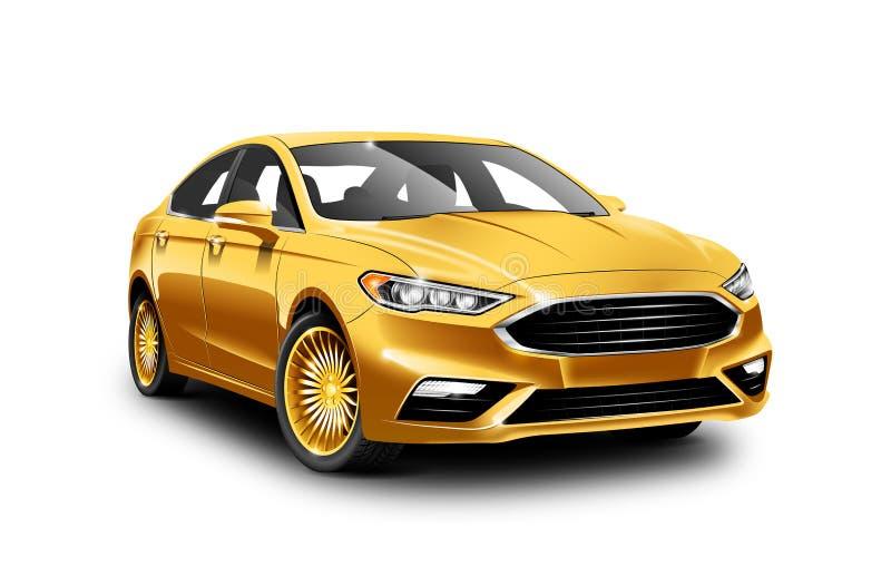 Χρυσό γενικό αυτοκίνητο επιχειρησιακής κατηγορίας στο άσπρο υπόβαθρο με την απομονωμένη πορεία διανυσματική απεικόνιση