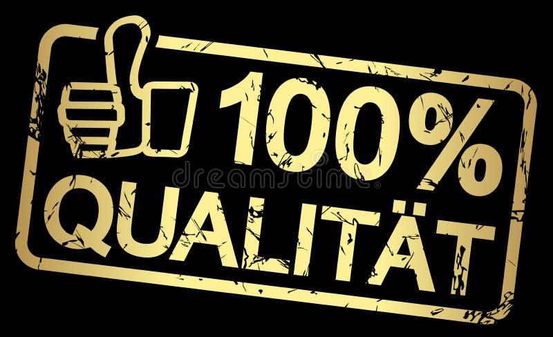 χρυσό γραμματόσημο με το κείμενο 100% Qualität απεικόνιση αποθεμάτων