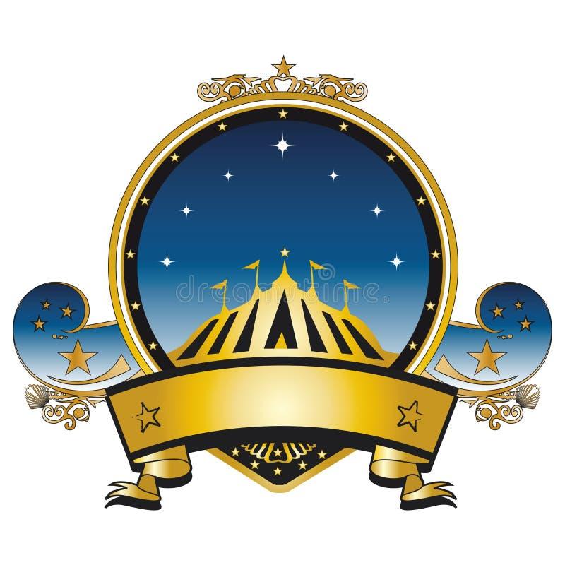 Χρυσό γραμματόσημο τσίρκων διανυσματική απεικόνιση