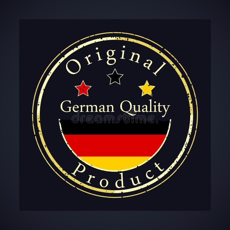 Χρυσό γραμματόσημο grunge με τη γερμανική ποιότητα κειμένων και το αρχικό προϊόν ελεύθερη απεικόνιση δικαιώματος