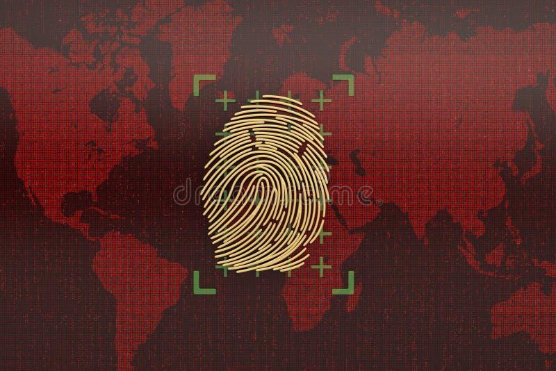 Χρυσό δακτυλικό αποτύπωμα στην κόκκινη ψηφιακή οθόνη τρισδιάστατη απεικόνιση διανυσματική απεικόνιση