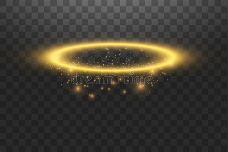 Χρυσό δαχτυλίδι αγγέλου φωτοστεφάνου Απομονωμένος στο μαύρο διαφανές υπόβαθρο, διανυσματική απεικόνιση διανυσματική απεικόνιση