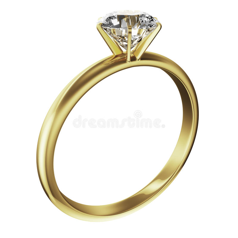 χρυσό δαχτυλίδι διαμαντι διανυσματική απεικόνιση