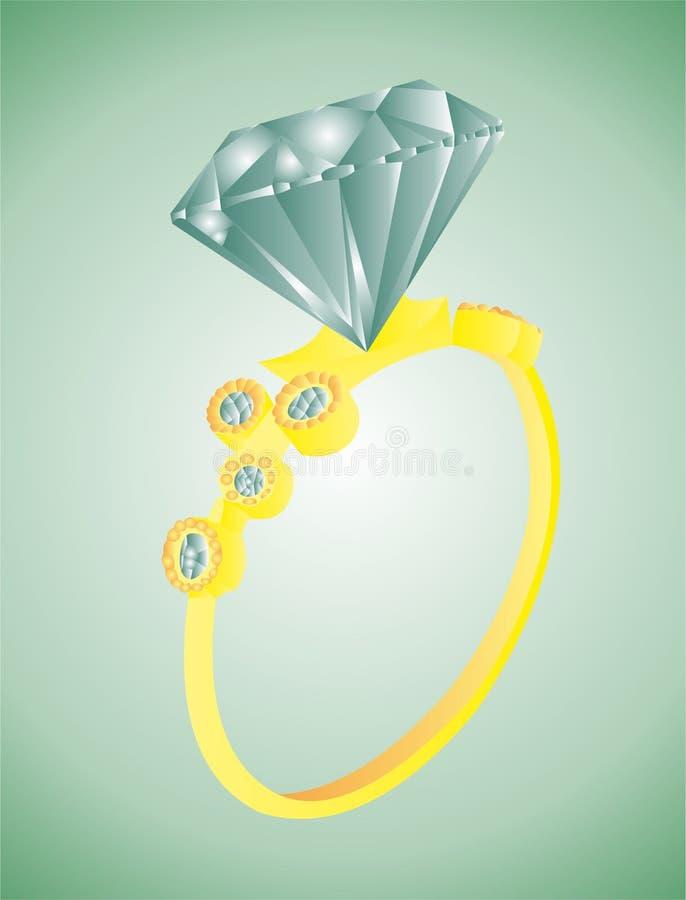 Χρυσό δαχτυλίδι με το διαμάντι διανυσματική απεικόνιση