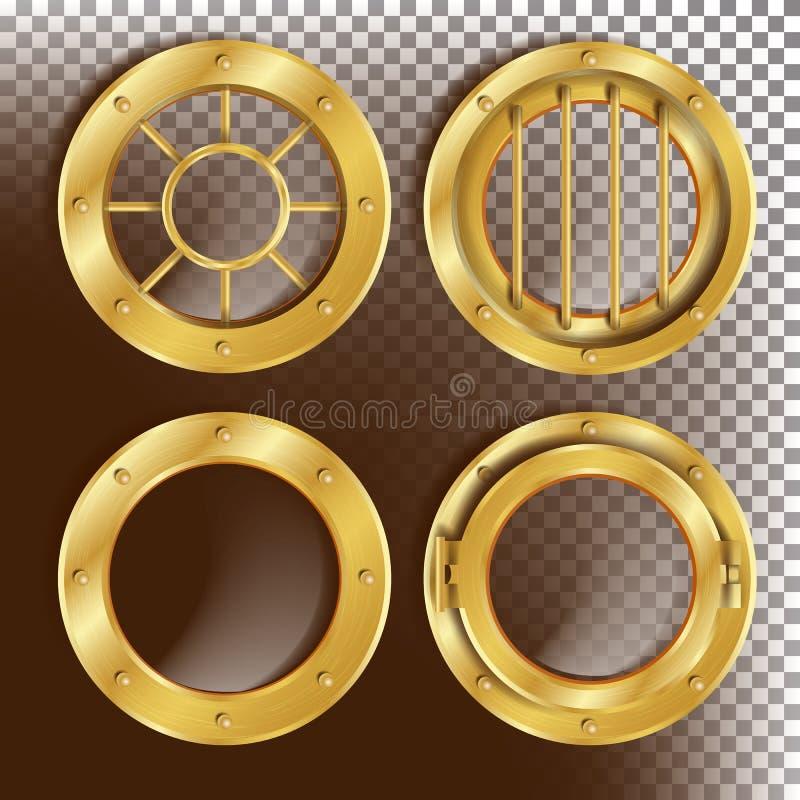 Χρυσό διάνυσμα παραφωτίδων Παράθυρο μετάλλων με τα καρφιά Στοιχείο σχεδίου πλαισίων σκαφών Bathyscaphe, πύραυλος Για το εργαστήρι ελεύθερη απεικόνιση δικαιώματος