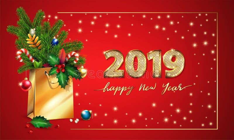 Χρυσό διανυσματικό κείμενο καλή χρονιά και τρισδιάστατα χρυσά ψηφία 2019 τρισδιάστατη τσάντα αγορών, ερυθρελάτες, κλάδοι έλατου,  ελεύθερη απεικόνιση δικαιώματος