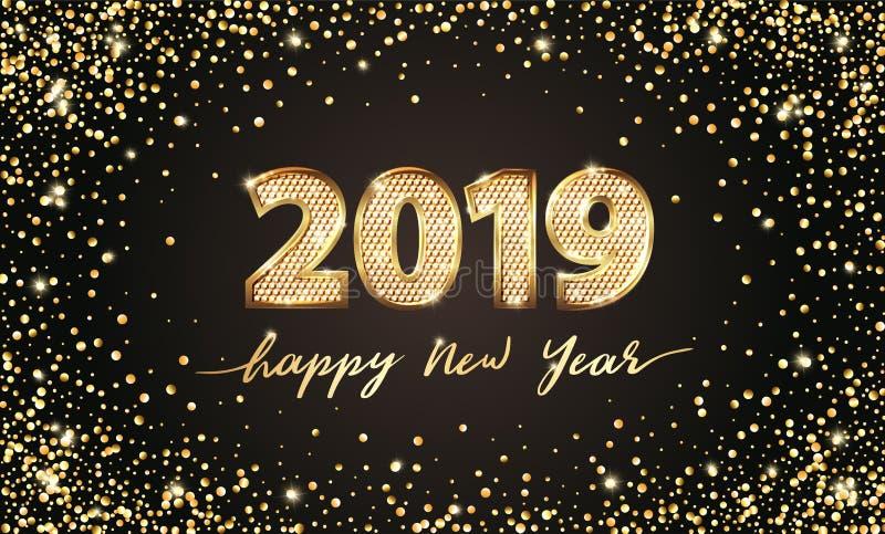 Χρυσό διανυσματικό κείμενο 2019 πολυτέλειας καλή χρονιά Χρυσό εορταστικό σχέδιο αριθμών Ο χρυσός ακτινοβολεί κομφετί Έμβλημα 2019 ελεύθερη απεικόνιση δικαιώματος
