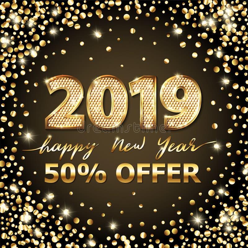 Χρυσό διανυσματικό κείμενο 2019 πολυτέλειας καλή χρονιά Χρυσό εορταστικό σχέδιο αριθμών Ακτινοβολήστε κομφετί Τετραγωνικά ψηφία ε ελεύθερη απεικόνιση δικαιώματος