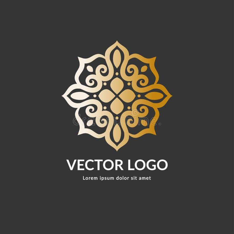 Χρυσό διανυσματικό λογότυπο πολυτέλειας με μορφή ενός λουλουδιού απεικόνιση αποθεμάτων