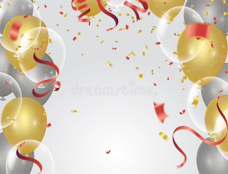 Χρυσό διαφανές μπαλόνι στα μπαλόνια υποβάθρου, διανυσματικό illustra διανυσματική απεικόνιση
