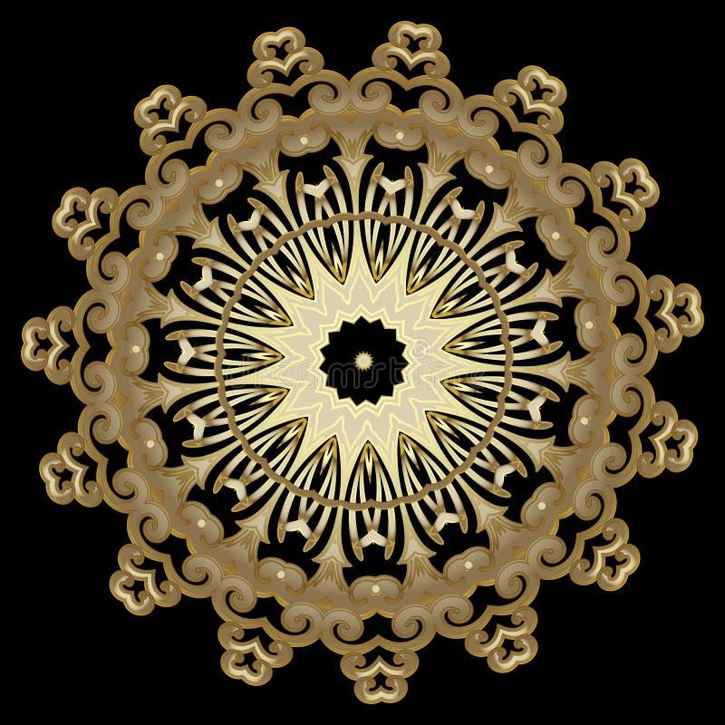 Χρυσό εθνικό σχέδιο mandala ύφους διανυσματικό Διακοσμητικό διακοσμητικό πιάτο Διαμορφωμένο αφηρημένο υπόβαθρο Στρογγυλές floral  διανυσματική απεικόνιση