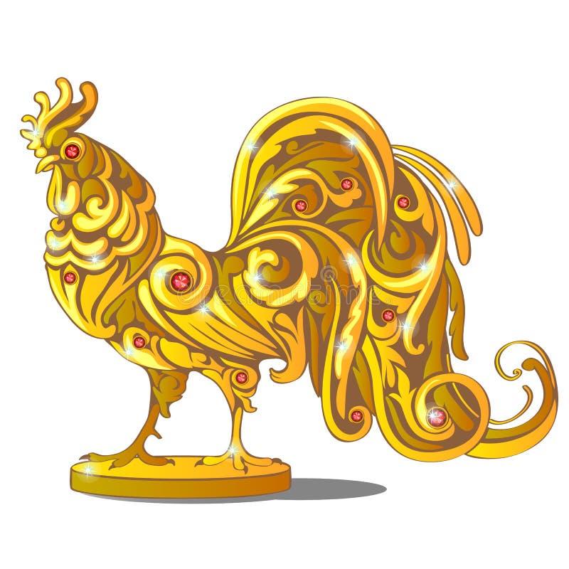 Χρυσό ειδώλιο του κόκκορα που ενθέτεται με τους κόκκινους πολύτιμους λίθους, ρουμπίνια που απομονώνονται στο άσπρο υπόβαθρο Δείγμ διανυσματική απεικόνιση
