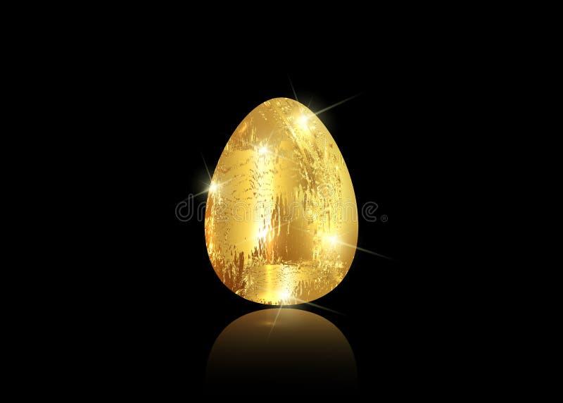 Χρυσό εικονίδιο αυγών που απομονώνεται στο μαύρο υπόβαθρο για τη ευχετήρια κάρτα ημέρας Πάσχας στο χρυσό ύφος επιστρώματος φύλλων ελεύθερη απεικόνιση δικαιώματος