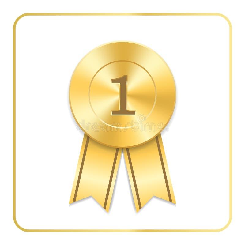 Χρυσό εικονίδιο κορδελλών βραβείων Κενό μετάλλιο που απομονώνεται στο άσπρο υπόβαθρο Τρόπαιο σχεδίου ροζέτων γραμματοσήμων έμβλημ απεικόνιση αποθεμάτων