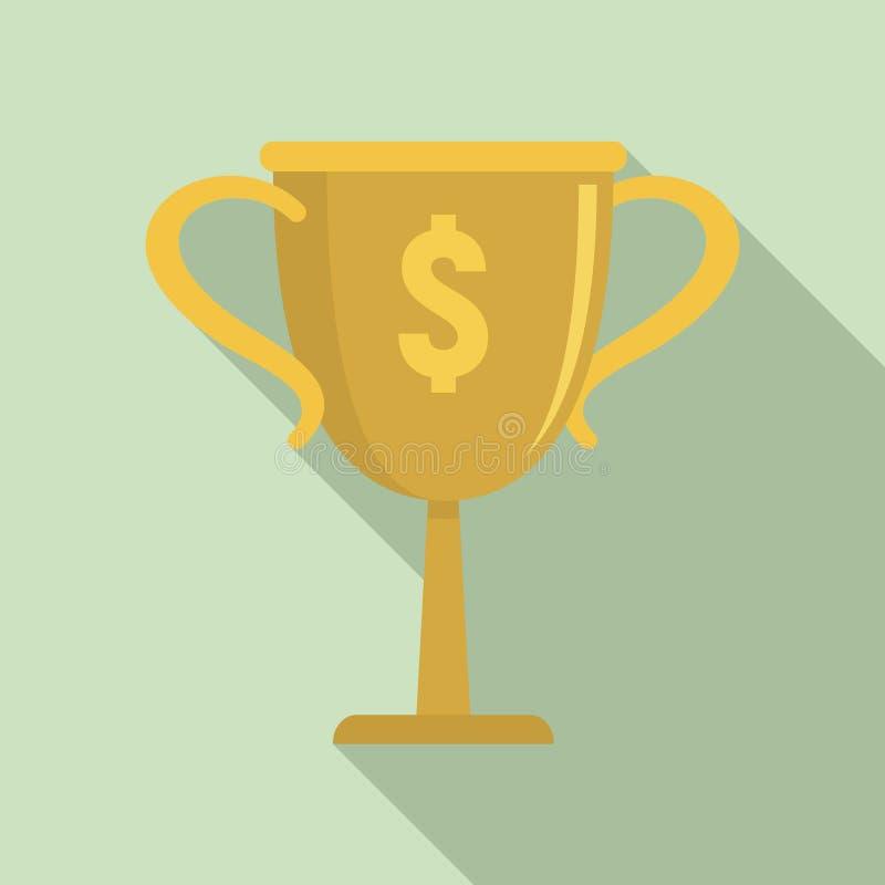 Χρυσό εικονίδιο φλυτζανιών χρημάτων, επίπεδο ύφος διανυσματική απεικόνιση