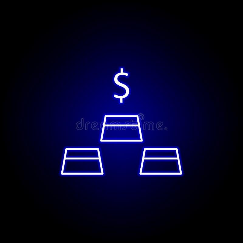 χρυσό εικονίδιο φραγμών δολαρίων στο ύφος νέου Στοιχείο της απεικόνισης χρηματοδότησης Το εικονίδιο σημαδιών και συμβόλων μπορεί  ελεύθερη απεικόνιση δικαιώματος