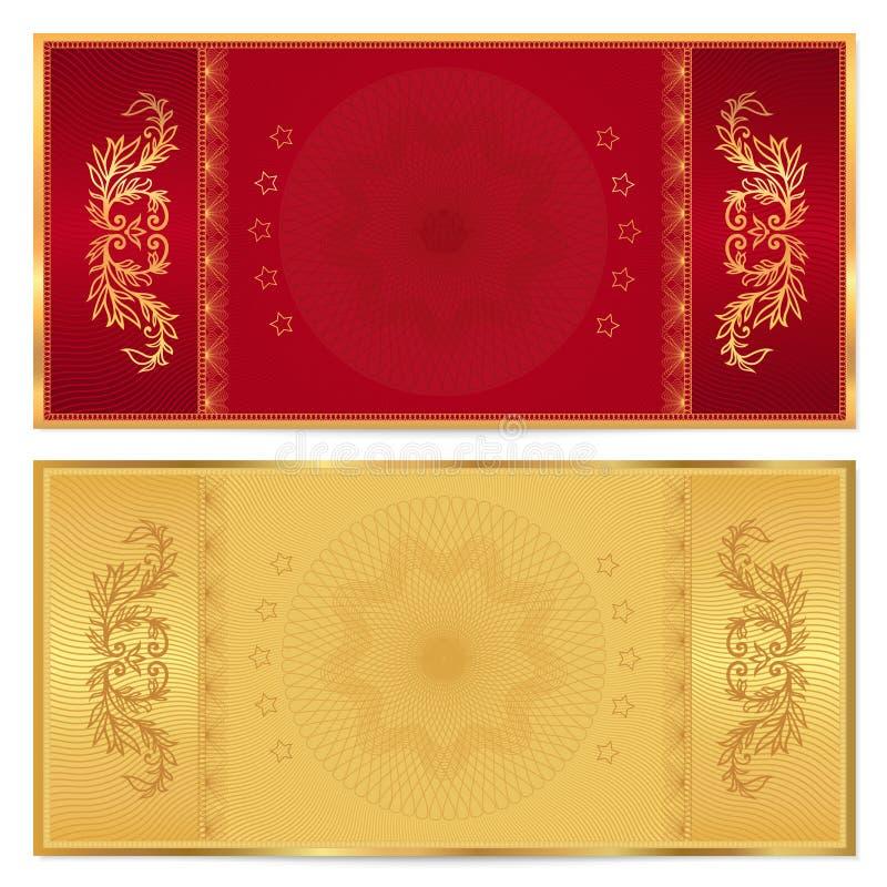 Χρυσό εισιτήριο, απόδειξη, πιστοποιητικό δώρων, δελτίο απεικόνιση αποθεμάτων