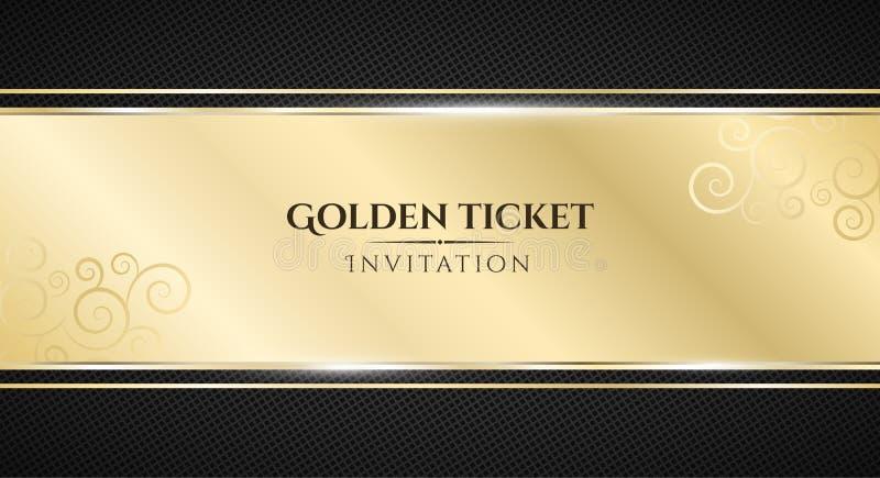 Χρυσό εισιτήριο Πολυτελής πρόσκληση Χρυσό έμβλημα κορδελλών σε ένα μαύρο υπόβαθρο με ένα σχέδιο του πλέγματος Ρεαλιστική χρυσή λο ελεύθερη απεικόνιση δικαιώματος