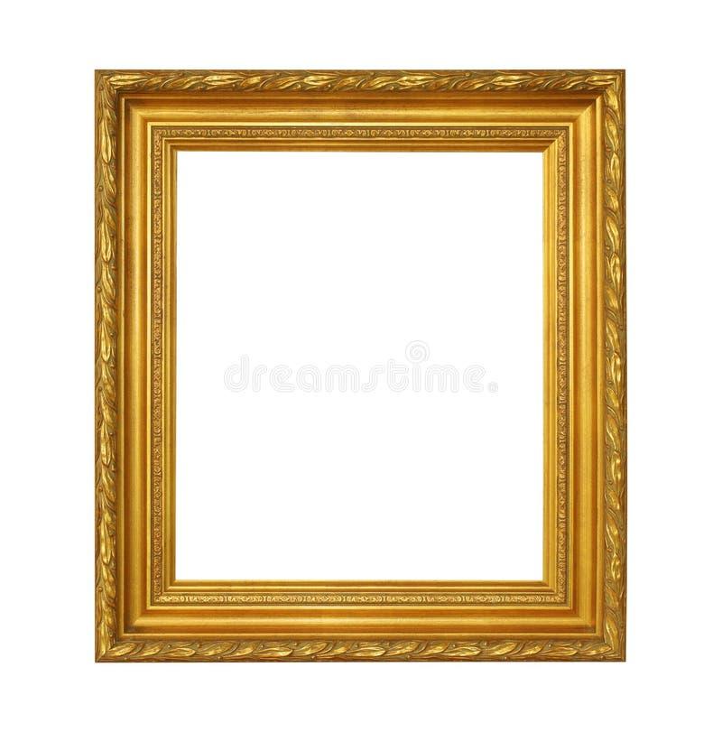 Χρυσό εκλεκτής ποιότητας πλαίσιο που απομονώνεται στο άσπρο υπόβαθρο με το ψαλίδισμα PA στοκ εικόνα με δικαίωμα ελεύθερης χρήσης