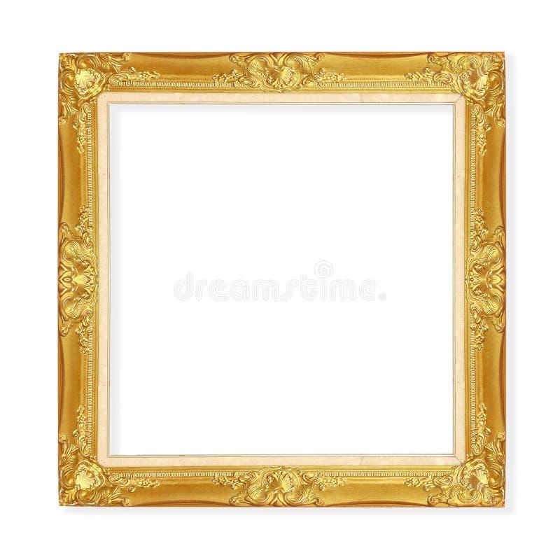 Χρυσό εκλεκτής ποιότητας πλαίσιο που απομονώνεται στο άσπρο υπόβαθρο με το ψαλίδισμα PA στοκ εικόνες με δικαίωμα ελεύθερης χρήσης