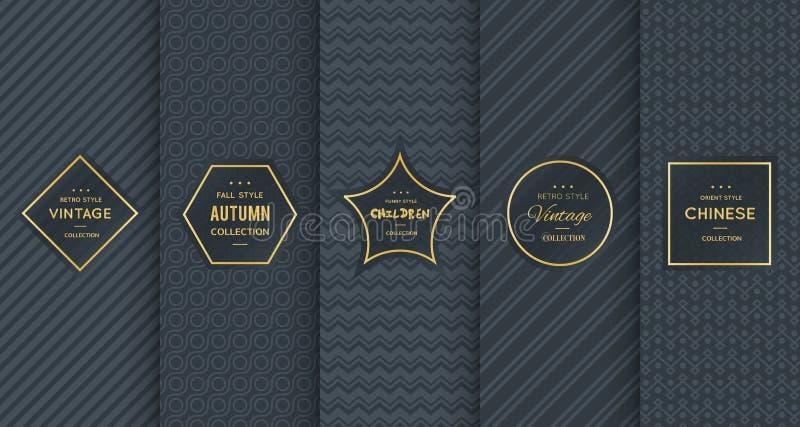 Χρυσό εκλεκτής ποιότητας σχέδιο στο μαύρο υπόβαθρο απεικόνιση αποθεμάτων