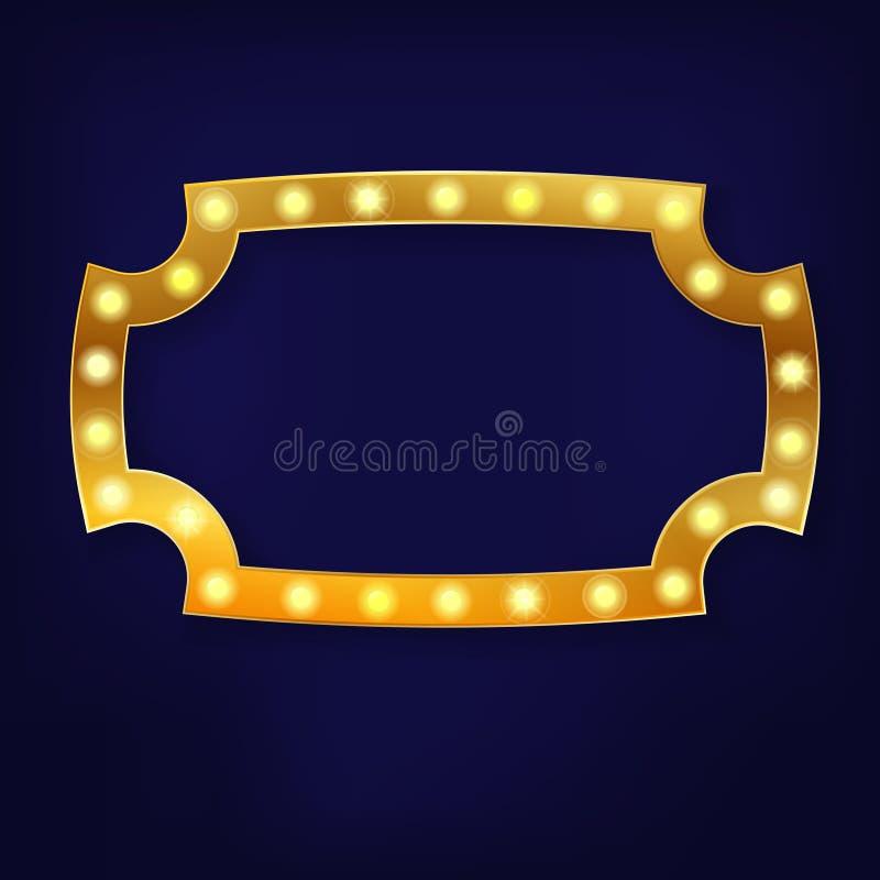 Χρυσό ελαφρύ παλαιό υπόβαθρο πλαισίων απεικόνιση αποθεμάτων