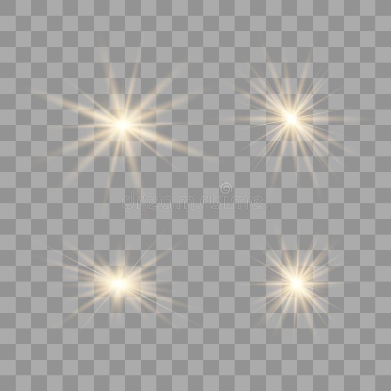 Χρυσό ελαφρύ σύνολο πυράκτωσης διανυσματική απεικόνιση