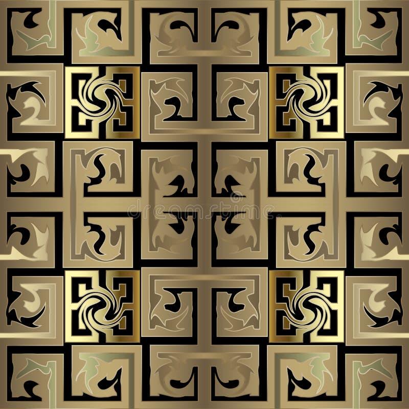 Χρυσό ελεγμένο αφηρημένο παλαιό κελτικού στυλ ελληνικό τρισδιάστατο διάνυσμα seamles απεικόνιση αποθεμάτων