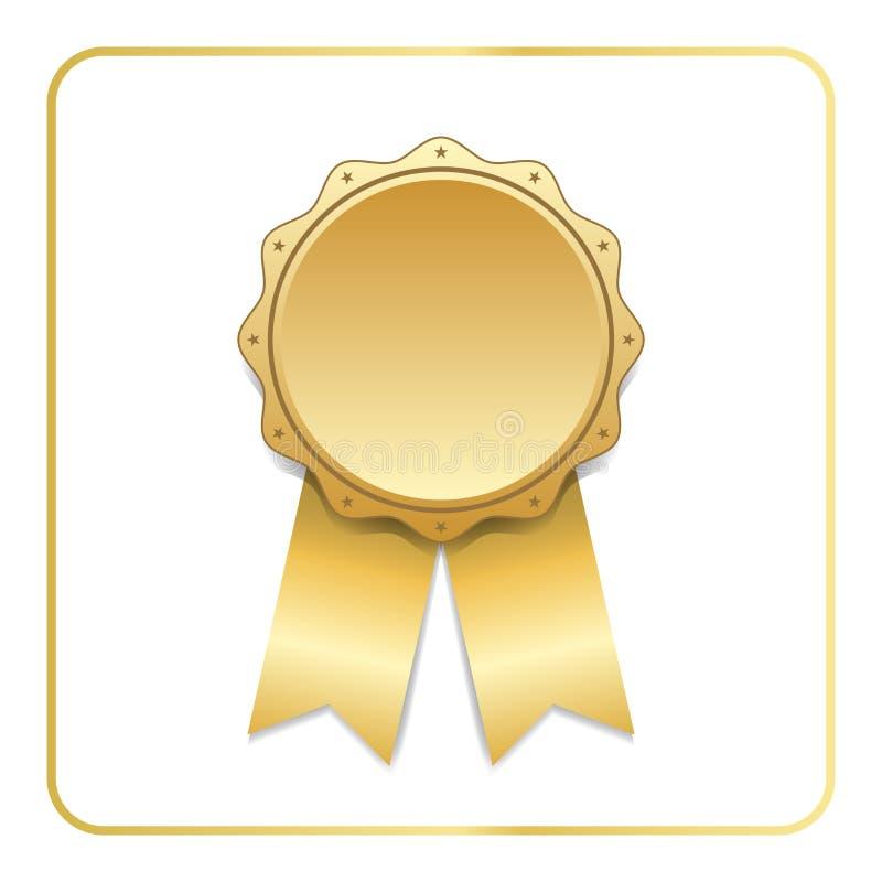 Χρυσό λευκό εικονιδίων κορδελλών βραβείων ελεύθερη απεικόνιση δικαιώματος