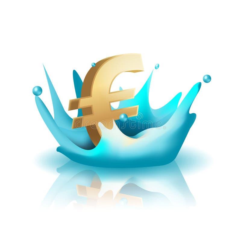 Χρυσό ευρο- διάνυσμα παφλασμών νερού νομίσματος ελεύθερη απεικόνιση δικαιώματος