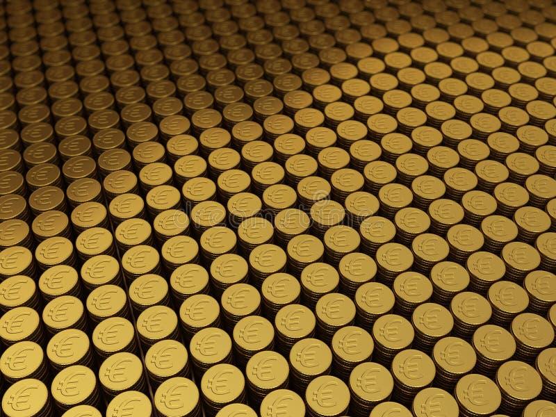 Χρυσό ευρο- σημάδι νομισμάτων ελεύθερη απεικόνιση δικαιώματος