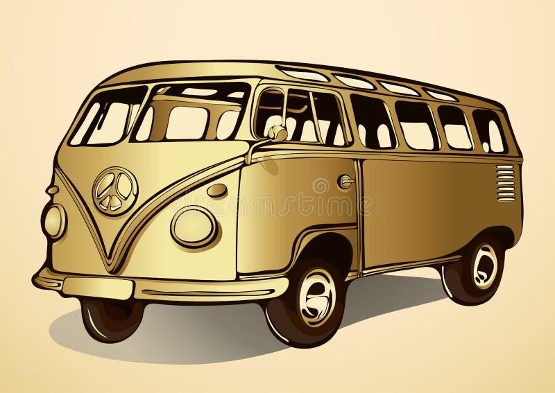 Χρυσό λεωφορείο, εκλεκτής ποιότητας, αναδρομικό αυτοκίνητο, χέρι-σχέδιο, μεταφορά κινούμενων σχεδίων απεικόνιση αποθεμάτων