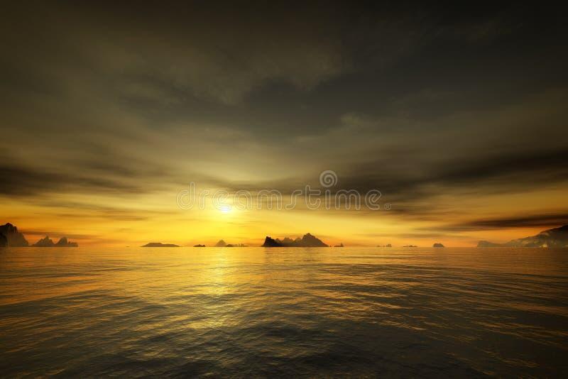 Χρυσό ηλιοβασίλεμα πέρα από τον ωκεανό διανυσματική απεικόνιση
