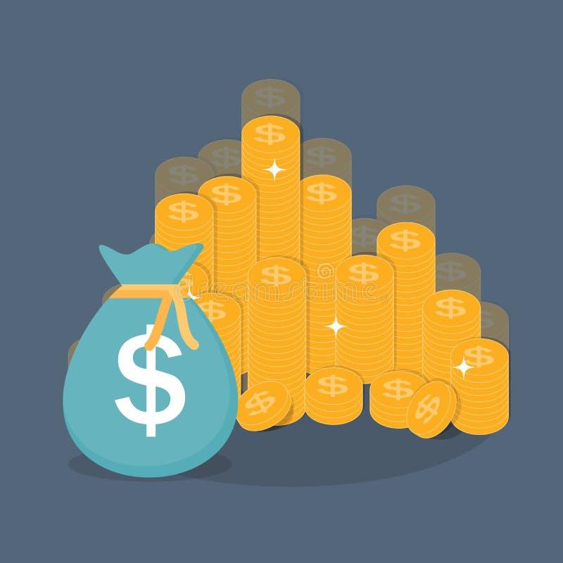 Χρυσό διάνυσμα έννοιας χρημάτων επιχειρησιακής χρηματοδότησης σημαδιών εικονιδίων νομισμάτων διανυσματική απεικόνιση