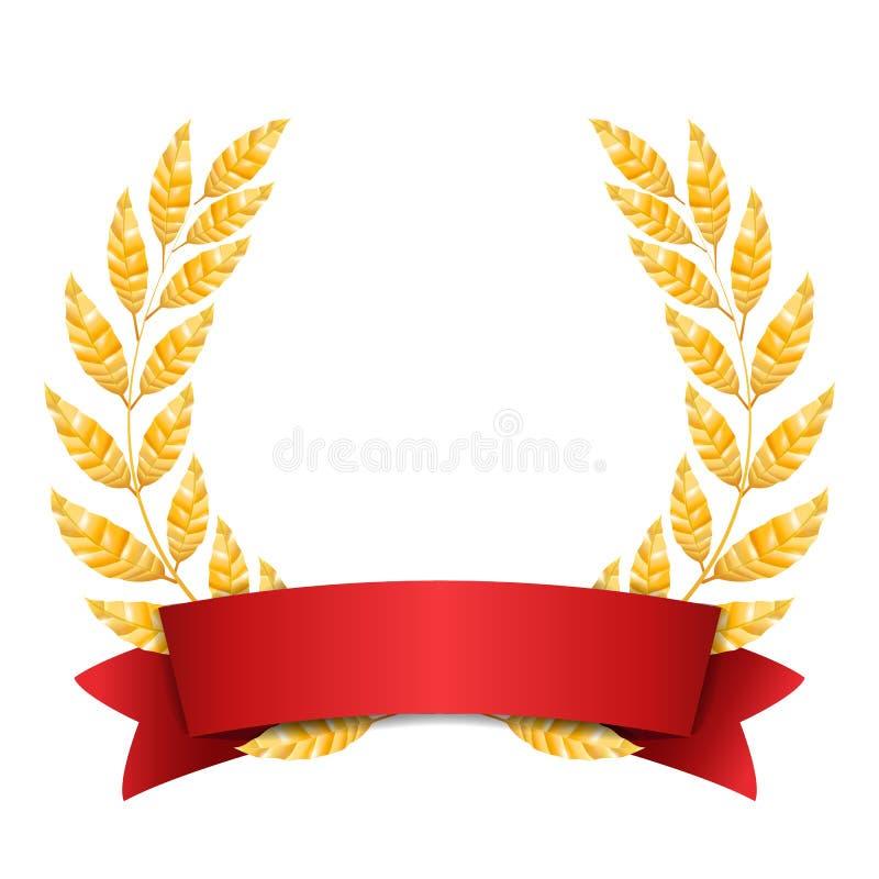 Χρυσό διάνυσμα δαφνών Το σύνολο λάμπει σχέδιο βραβείων στεφανιών κόκκινη κορδέλλα τοποθετήστε το κείμενο ελεύθερη απεικόνιση δικαιώματος