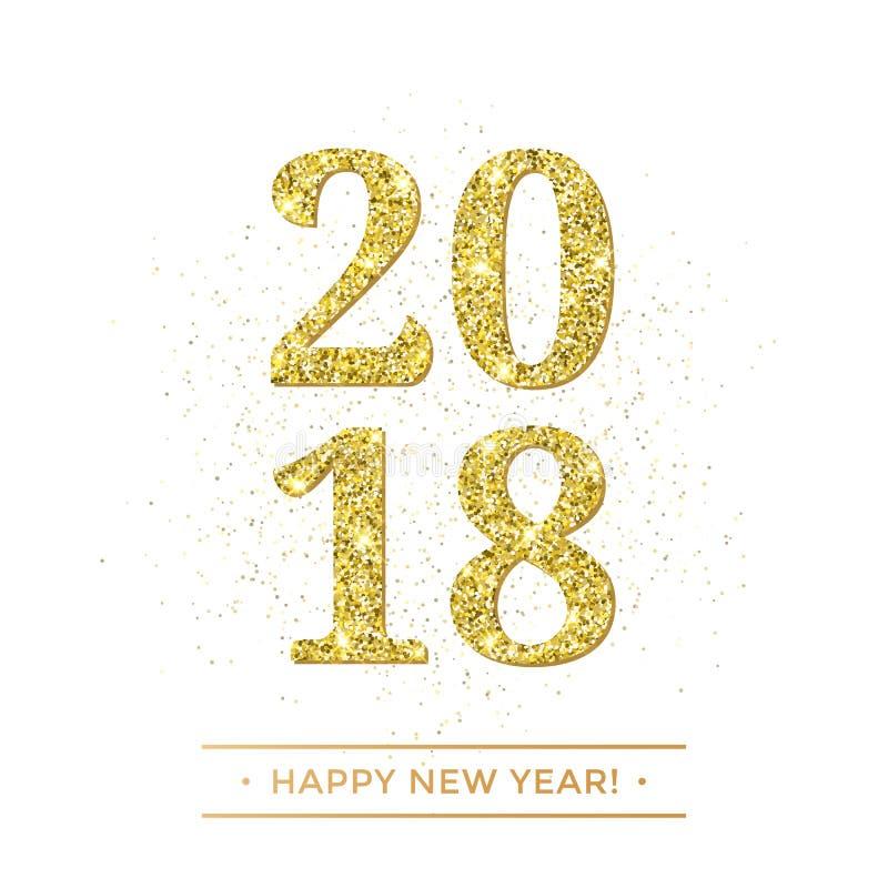 Χρυσό διάνυσμα καλής χρονιάς του 2018 στο άσπρο έμβλημα υποβάθρου με τη χρυσή ακτινοβολώντας επίδραση σύστασης διανυσματική απεικόνιση