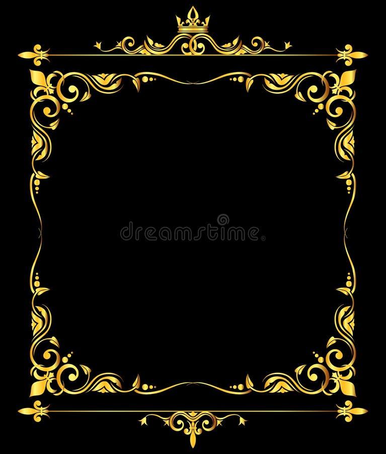 Χρυσό διανυσματικό περίκομψο βασιλικό fleur de lys μαύρο υπόβαθρο πλαισίων διανυσματική απεικόνιση