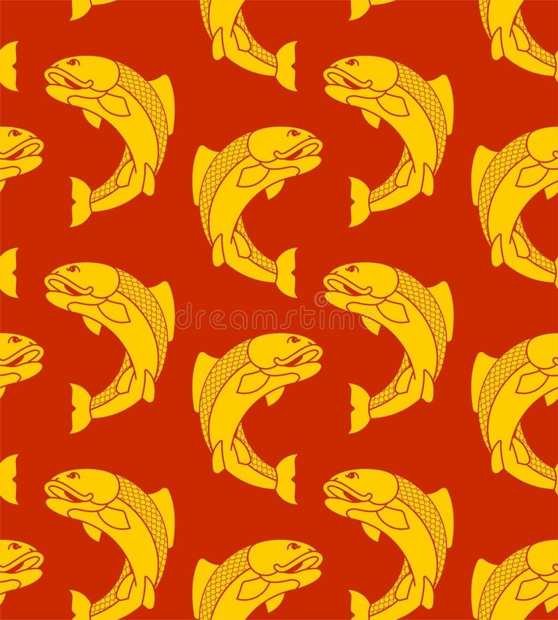 Χρυσό ιαπωνικό σχέδιο κυπρίνων άνευ ραφής Διακόσμηση Koi Διάνυσμα backgr απεικόνιση αποθεμάτων