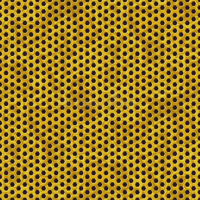 Χρυσό διατρυπημένο μέταλλο υπόβαθρο σύστασης σχεδίων φύλλων άνευ ραφής με κυψελωτό hexagon ελεύθερη απεικόνιση δικαιώματος