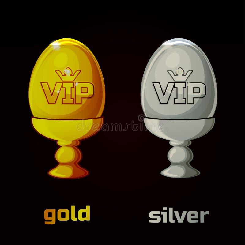 Χρυσό και ασημένιο VIP αυγό Πάσχας σε μια στάση διανυσματική απεικόνιση