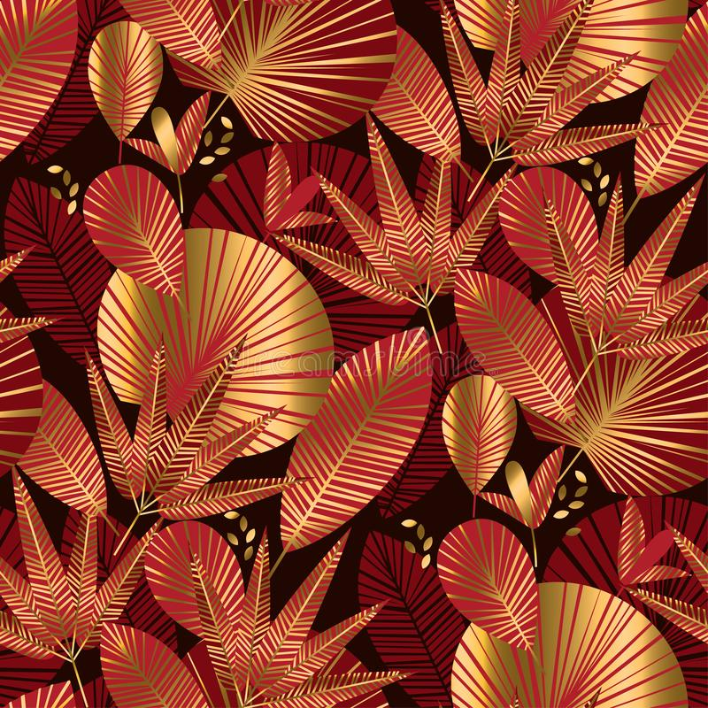 Χρυσό και κόκκινο γεωμετρικό τροπικό άνευ ραφής σχέδιο απεικόνιση αποθεμάτων