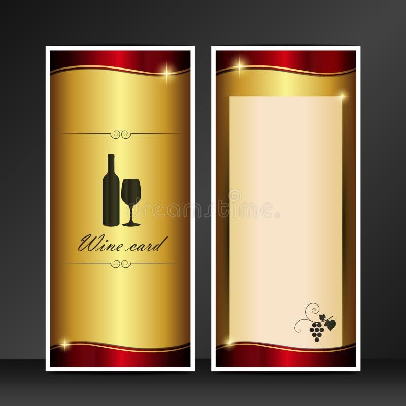 Χρυσό και κόκκινο διανυσματικό πρότυπο καρτών κρασιού που απομονώνεται στο γκρίζο υπόβαθρο απεικόνιση αποθεμάτων